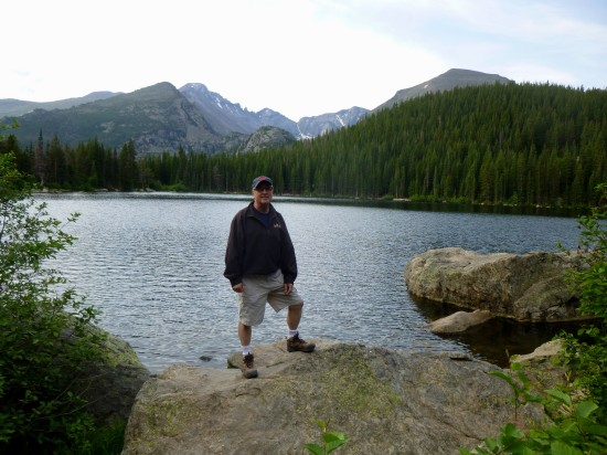 My father, with Bear Lake, Longs Peak, and Keyboard of the Winds
