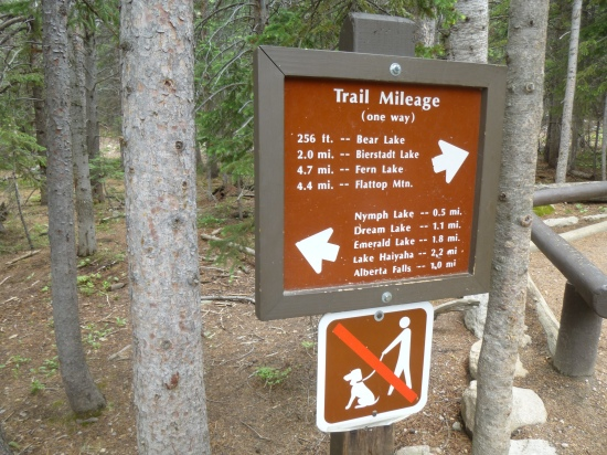 Trail marker at Bear Lake