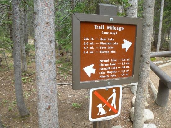 Trail marker at Bear Lake