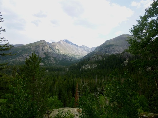 Longs Peak, Thatchtop, and Glacier Gorge from trail above Nymph Lake