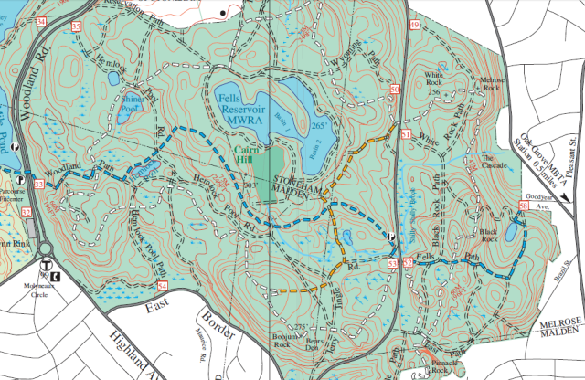 Middlesex Fells eastern district. See http://www.fells.org/Fells_Reservation_Trail_Map.pdf