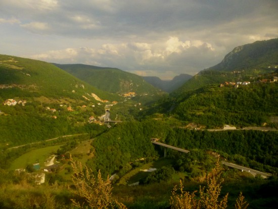 View of Miljacka Canyon and Dariva from Bijela tabija (White Fortress)