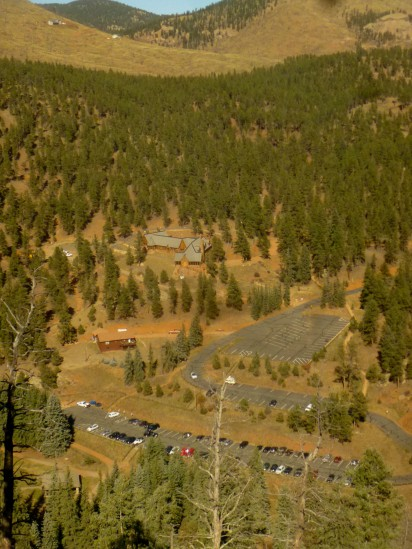 Parking lot in Pine Valley, from Park View Trail
