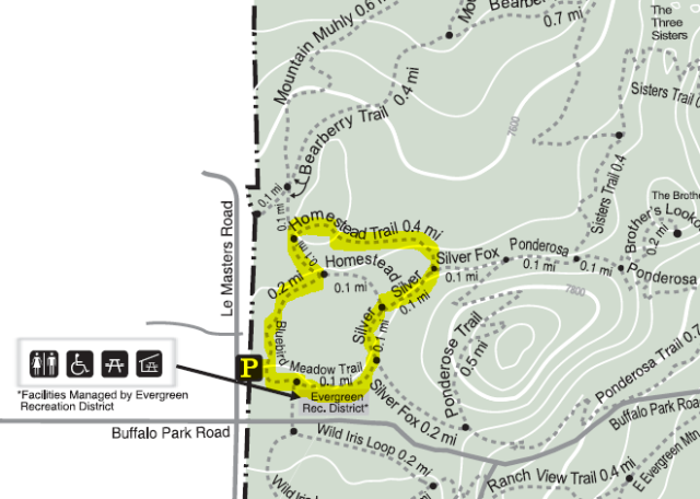 Map of the Bluebird Meadow - Homestead Trail route in Alderfer Three Sisters Park