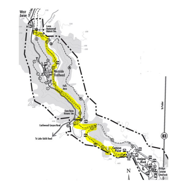 Map of 3.2-mile end-to-end hike in Castlewood Canyon State Park