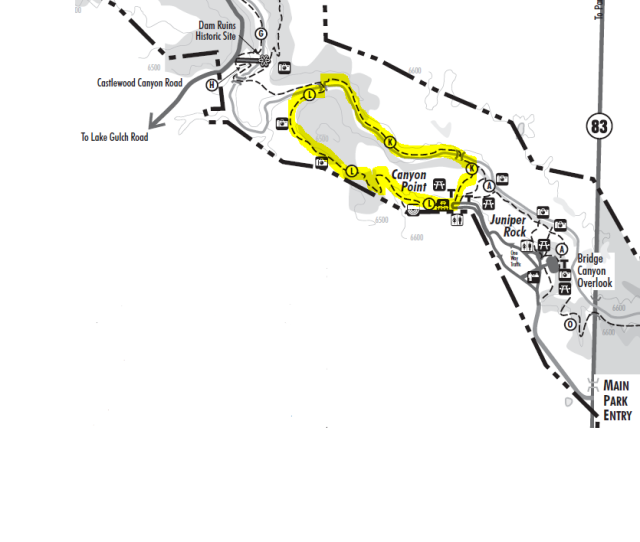 Map of Inner Canyon - Lake Gulch Trail loop, Castlewood Canyon State Park (credit: Colorado Parks & Wildlife: http://cpw.state.co.us/placestogo/parks/CastlewoodCanyon/Documents/Castlewood-StateParkMap.pdf)