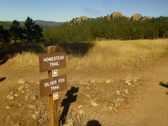 Homestead Trail junction with view of the Three Sisters