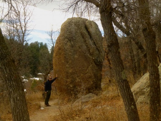 Me with a big chunk of Castle Rock Conglomerate in Castlewood Canyon