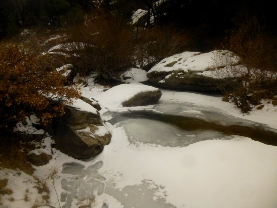 The half-frozen waters of Cherry Creek in November