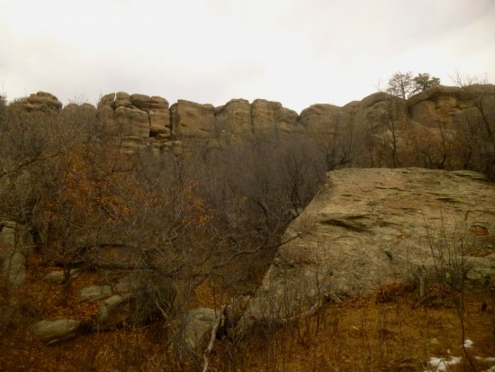 Canyon walls, composed largely of the park's iconic Castle Rock conglomerate