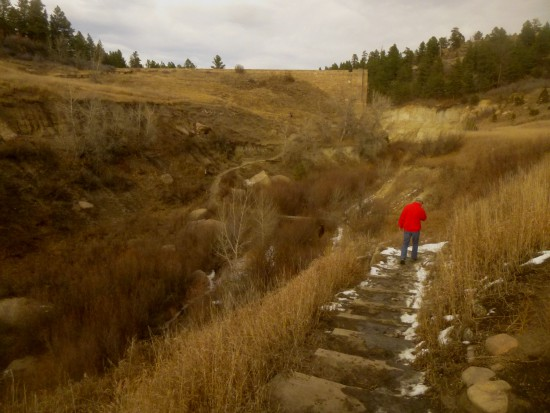 Dipping into Cherry Creek just before the dam ruins in Castlewood Canyon