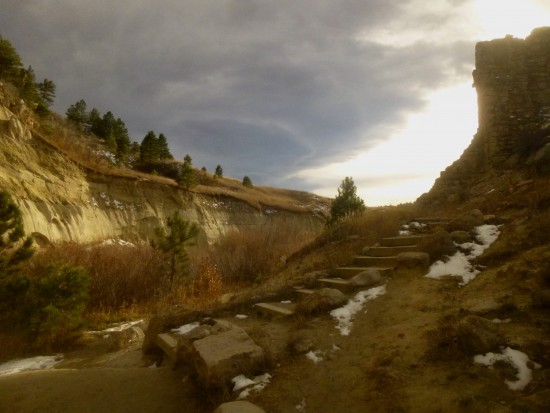 Beyond the dam in Castlewood Canyon; note the striking Dawson Arkose formation on the opposite bank