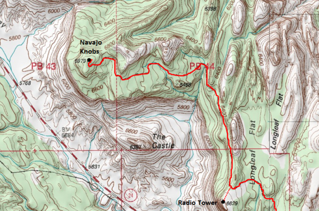 Map of Rim Overlook & Navajo Knobs Trail (to Navajo Knobs), Capitol Reef National Park