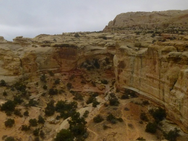 View of Hickman Bridge from Hickman Bridge Overlook, on the trail to Rim Overlook and Navajo Knobs