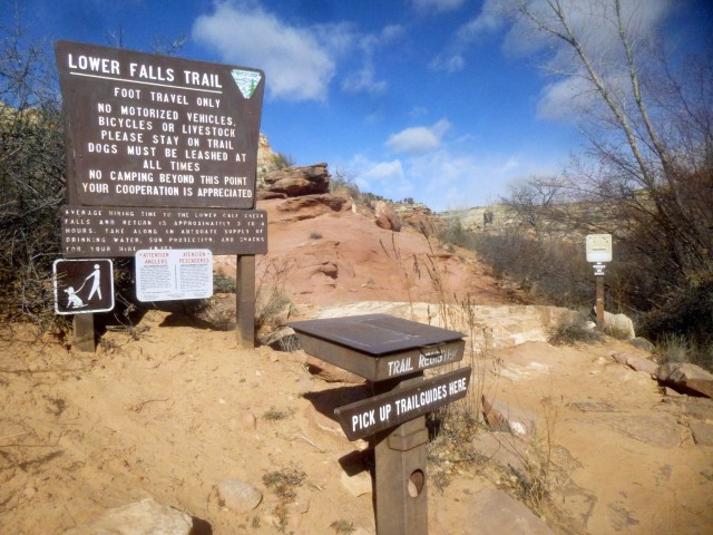 Lower Calf Creek Falls Trailhead and trail register
