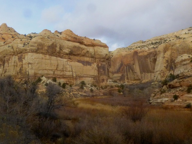 The large bend, a little over halfway to Lower Calf Creek Falls