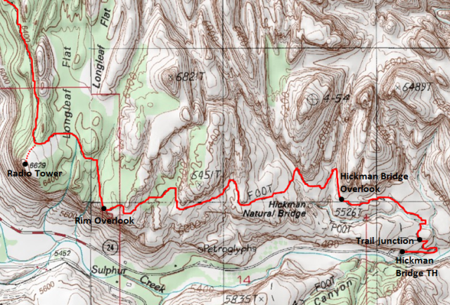 Map of Rim Overlook & Navajo Knobs Trail to Rim Overlook, Capitol Reef National Park