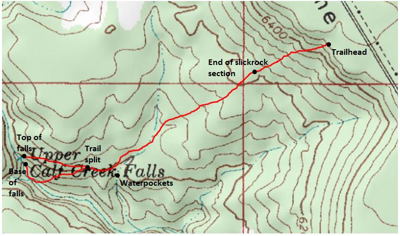 Upper Calf Creek Falls Trail Grand StaircaseEscalante National - Calf map