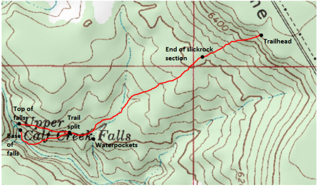 Map of Upper Calf Creek Falls Trail Adapted from: http://www.mytopo.com/maps/