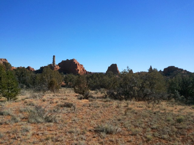 View of a collection of spires south of Panorama Trail, near the trailhead