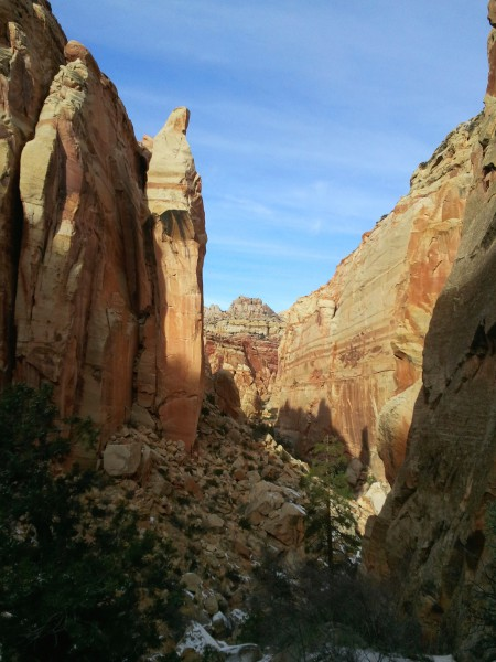 Looking north, down Shinob Canyon; note the towering spire that looks like a nun