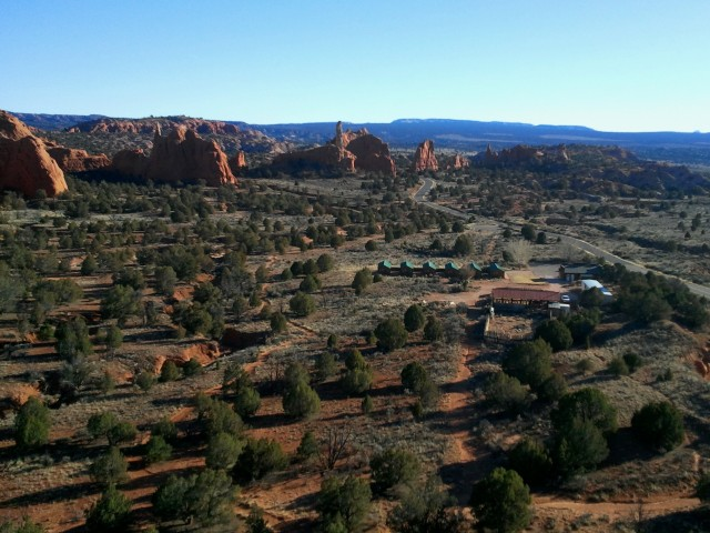 View of the basin and collection of spires from the overlook, Angel's Palace Trail