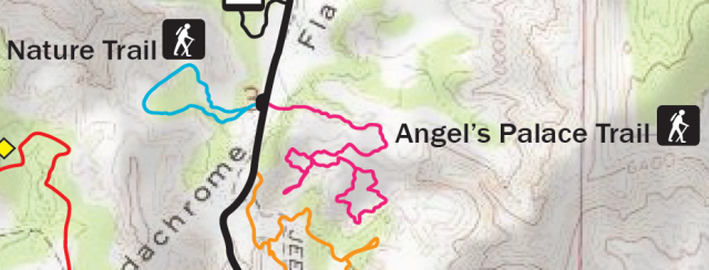 "Map of Angel's Palace Trail, Kodachrome Basin State Park, clipped from official ""Kodachrome Basin State Park Map and Guide,"" http://static.stateparks.utah.gov/docs/kbspNewsBrochure.pdf"