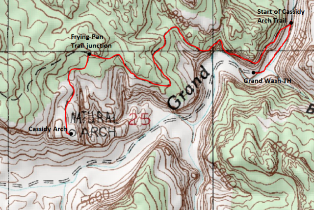 Map of Cassidy Arch Trail, Capitol Reef National Park