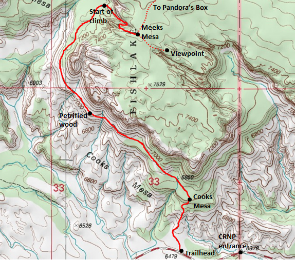 Map of trail to top of Cooks Mesa and Meeks Mesa, Fishlake National Forest (near Capitol Reef National Park) Adapted from: http://www.mytopo.com/maps/