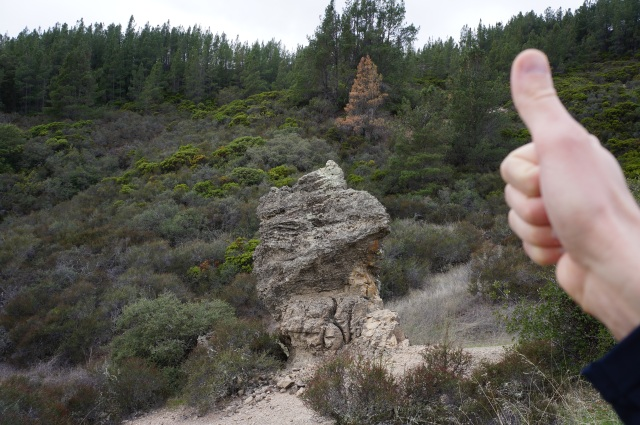 Thumb rock composed of rhyolite, Table Rock Trail
