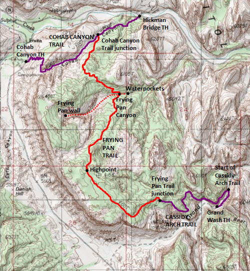 Map of Frying Pan Trail and Frying Pan Canyon--with Cohab Canyon and Cassidy Arch Trails, Capitol Reef National Park