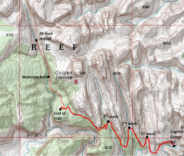 "Map of Golden Throne Trail and ""Golden Throne Canyon"", Capitol Reef National Park"