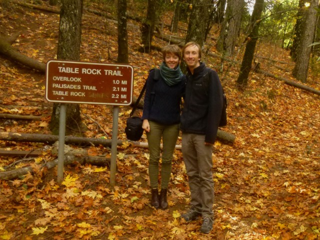 Sarah and Andrew at the start of the Table Rock Trail, Robert Louis Stevenson State Park