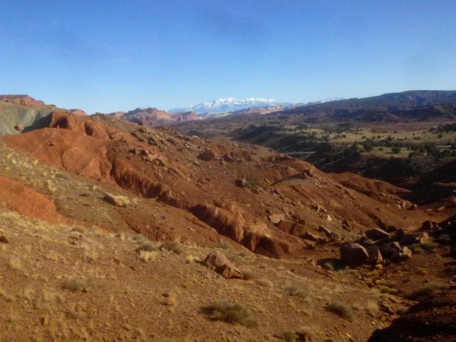 Capitol Reef and the Henry Mountains from the slopes of Cooks Mesa
