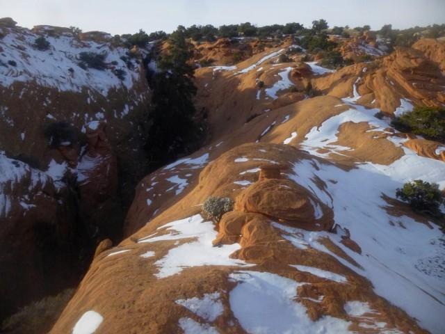 Slot canyon atop Meeks Mesa