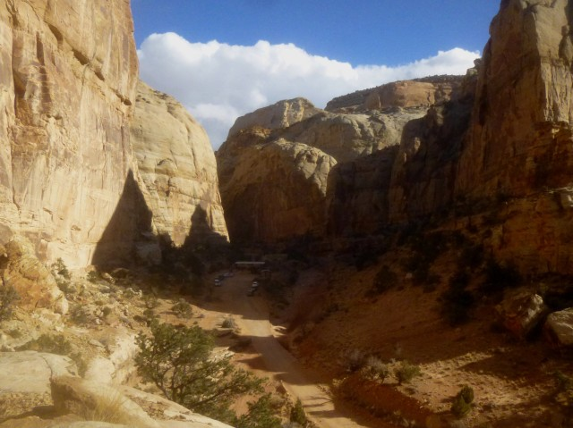 View of parking area at the end of Capitol Gorge Road - from the Golden Throne Trail, Capitol Reef National Park