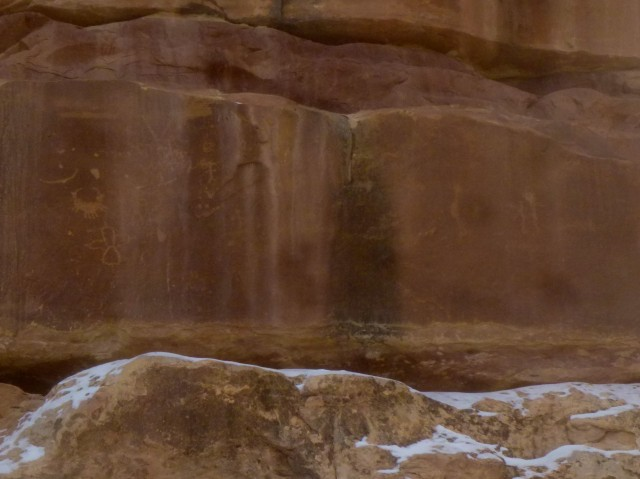 Petroglyphs on the northeast wall of Kachina Bridge