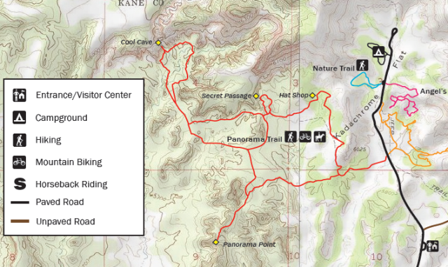 "Map of Panorama Trail, clipped from official ""Kodachrome Basin State Park Map and Guide"", http://static.stateparks.utah.gov/docs/kbspNewsBrochure.pdf"