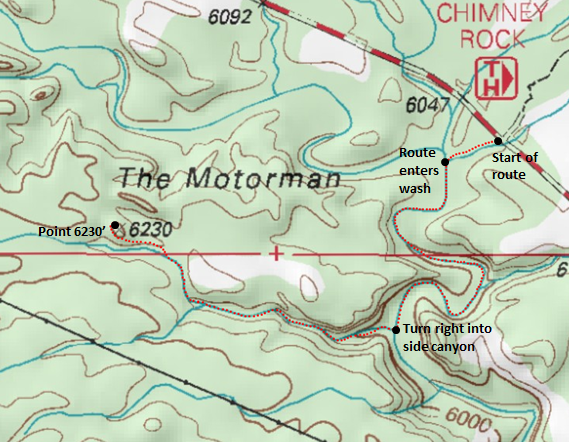 Map of route to Point 6,230', near The Motorman, Capitol Reef National Park Adapted from: http://www.mytopo.com/maps/