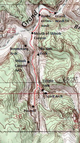 Map of Shinob Canyon route, Capitol Reef National Park, January 2015