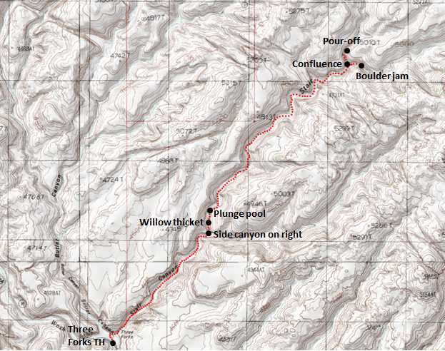 Map of day hike in Stair Canyon, North Wash area, Utah Adpated from: http://www.mytopo.com/maps/