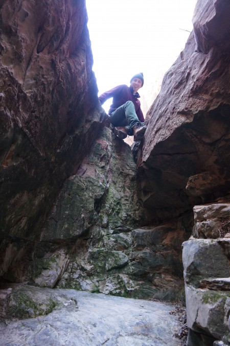 Atop the fun, 6-foot dryfall in Headquarters Canyon