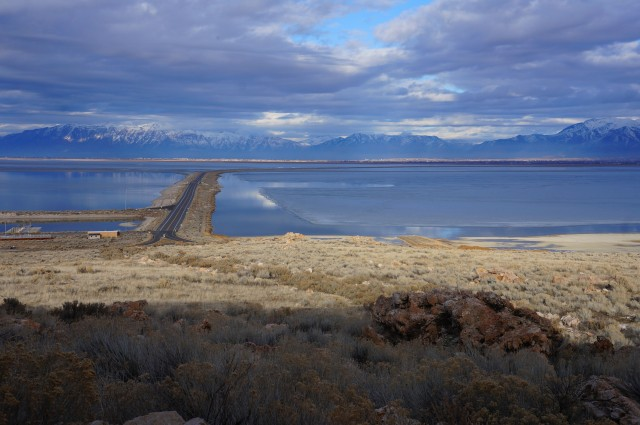 View of the causeway over Great Salt Lake, toward Ogden and the Wasatch Range, Antelope Island State Park