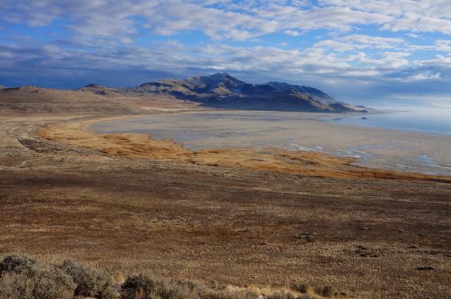 White Roc Bay, Elephant Head, and Frary Peak from near Buffalo Point, Antelope Island State Park