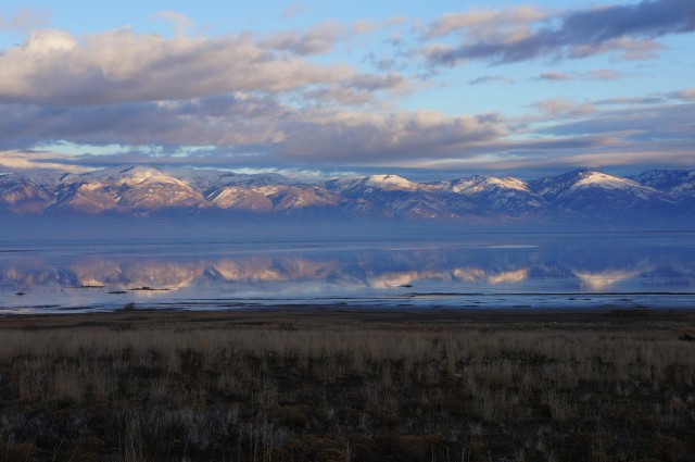 Sun sets on the Wasatch Range to the east, Antelope Island State Park