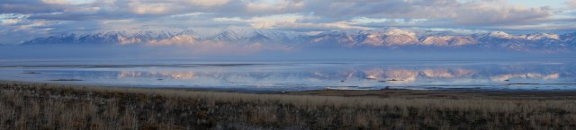 Panorama of Wasatch Range from Antelope Island State Park
