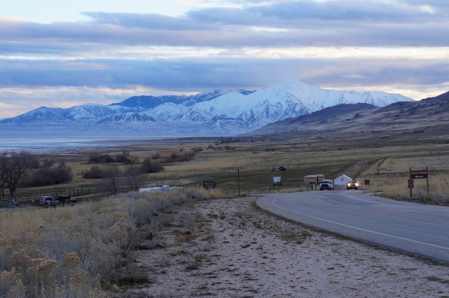 Snow-capped mountains to the south, from near Fielding Garr Ranch, Antelope Island State Park
