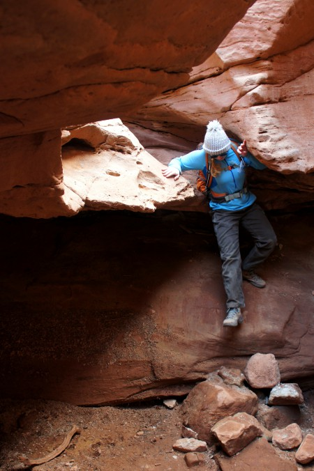 Dropping into a partially enclosed bowl in the Kayenta narrows, Little Wild Horse Canyon