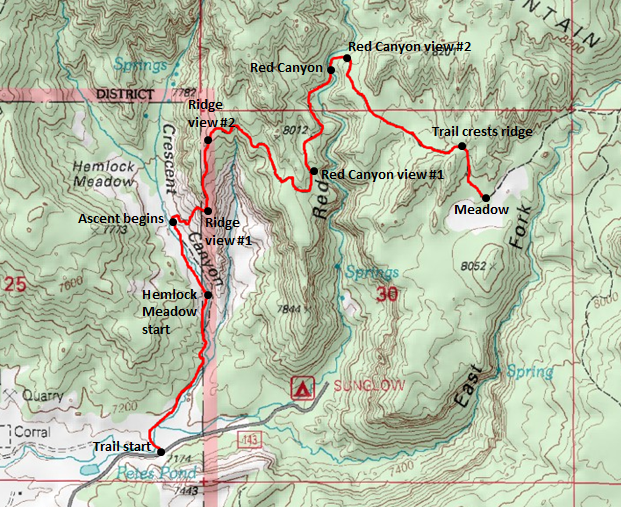Map of Durfey Canyon / Boy Scouts Trail, Sunglow area, Fishlake National Forest - including Hemlock Meadow, Crescent Canyon, Red Canyon, and East Fork of Red Canyon; adapted from: http://www.mytopo.com/maps/