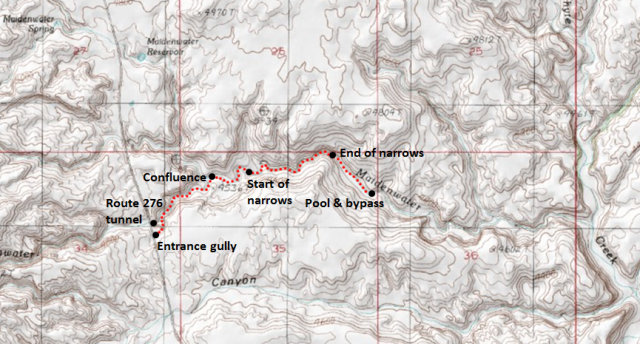 Map of Lower Maidenwater Canyon and the Trachyte Creek area; adapted from: http://www.mytopo.com/maps/